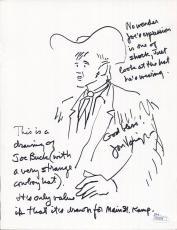 JON VOIGHT AUTHENTIC HAND SIGNED 8x11 DRAWING OF JOE BUCK    AWESOME+RARE    JSA