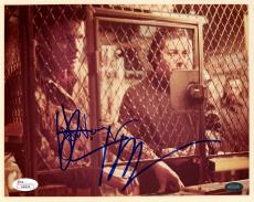 "Jon Voight & Dustin Hoffman Autographed 8"" x 10"" Midnight Cowboy Both Behind Cage Photograph - JSA"