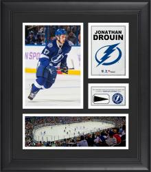 """Jonathan Drouin Tampa Bay Lightning Framed 15"""" x 17"""" Collage with Piece of Game-Used Puck"""