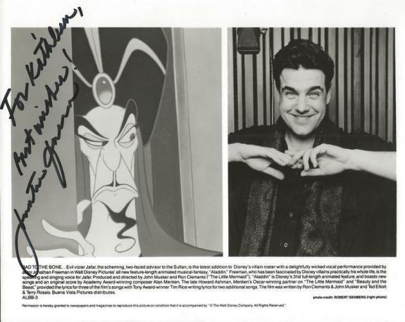 Jonathan Freeman Signed 8x10 Vintage Aladdin Photo Voice of Jafar