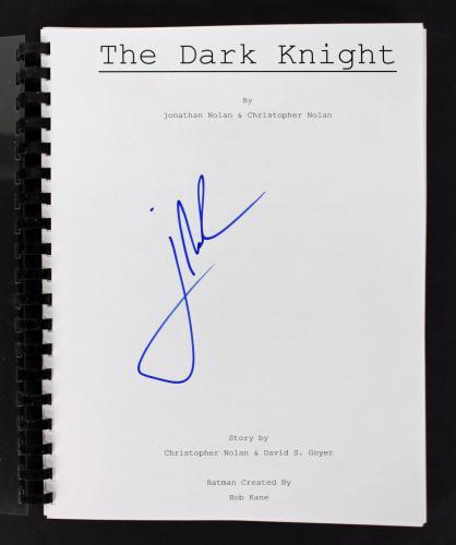 Jonathan Nolan Signed Batman The Dark Knight Movie Script BAS #B73782