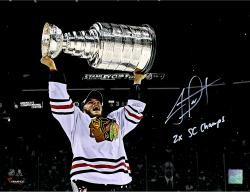 Jonathan Toews Chicago Blackhawks Autographed 11'' x 14'' Photograph with 2X SC Champs Inscription - #2-18 of a Limited Edition of 19