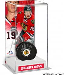 Jonathan Toews Chicago Blackhawks Autographed Puck with Deluxe Tall Hockey Puck Case