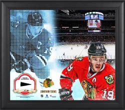 Jonathan Toews Chicago Blackhawks Framed 15'' x 17'' Mosaic Collage with Piece Of Game-Used Puck-Limited Edition of 99