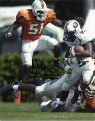 "Jonathan Vilma Miami Hurricanes vs Temple Owls Autographed 8"" x 10"" Photograph - Mounted Memories"