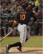 "Adam Jones Baltimore Orioles Autographed 8"" x 10"" Black Uniform Swing Photograph"