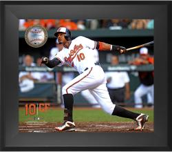 "Adam Jones Baltimore Orioles Framed 20"" x 24"" Gamebreaker Photograph with Game-Used Ball"
