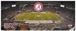 Barrett Jones and Bryant Denny Alabama Crimson Tide Stadium Autographed Panoramic Photo with 'Roll Tide/3X BCS Champ' Inscription - Mounted Memories