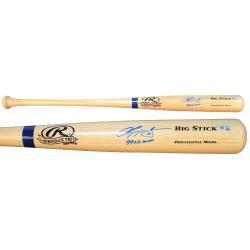 Chipper Jones Atlanta Braves Autographed Rawlings Blonde Bat with 99 NL MVP Inscription