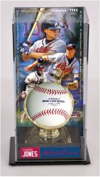 Chipper Jones Atlanta Braves Baseball Display Case with Gold Glove and Plate - Mounted Memories