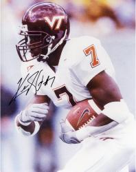 Kevin Jones Virginia Tech Hokies Autographed 8'' x 10'' White Jersey Side View Photograph