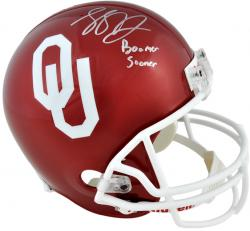 Landry Jones Oklahoma Sooners Autographed Riddell Replica Helmet with Boomer Sooner Inscription - Mounted Memories