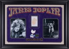 Janis Joplin Deluxe Vertical Framed Collectible with 2.5'' x 3.5'' Autographed Cut  - PSA/DNA