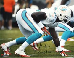 "Dion Jordan Miami Dolphins Autographed 16"" x 20"" Horizontal White Photograph with 1st Round Pick Inscription"