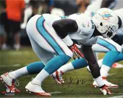 """Dion Jordan Miami Dolphins Autographed 16"""" x 20"""" Horizontal White Squat Photograph"""