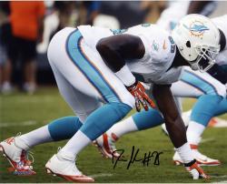 """Dion Jordan Miami Dolphins Autographed 8"""" x 10"""" Horizontal White Squat Photograph"""