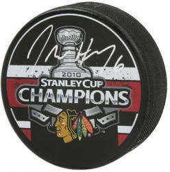 Chicago Blackhawks Jordan Hendry 2010 Stanley Cup Champions Autographed Puck -