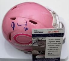 Jordan Howard Signed Chicago Bears Mini Football Helmet w/JSA COA Pink Cancer