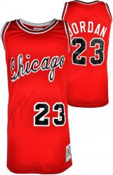 Michael Jordan Chicago Bulls Autographed Mitchell & Ness Red Jersey