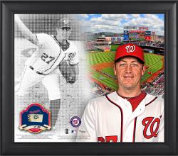 """Jordan Zimmerman Washington Nationals Framed 15"""" x 17"""" Mosaic Collage with Game-Used Baseball-Limited Edition of 99"""