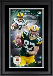 Jordy Nelson Green Bay Packers 10'' x 18'' Vertical Framed Photograph with Piece of Game-Used Football - Limited Edition of 250