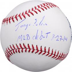 """Jorge Soler Chicago Cubs Autographed Baseball with """"MLB Debut 8/27/14"""" Inscription"""