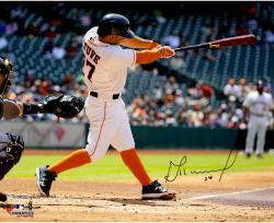 """Jose Altuve Houston Astros Autographed 16"""" x 20"""" Horizontal Swing Black Bat Photograph"""