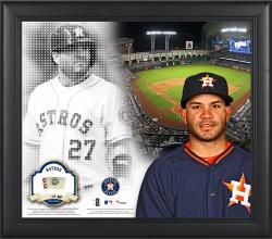 """Jose Altuve Houston Astros Framed 15"""" x 17"""" Mosaic Collage with Game-Used Baseball-Limited Edition of 99"""