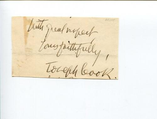 Joseph Josephus Flavius Cook Boston Tremont Temple Clergy Autho Signed Autograph