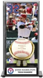 Josh Hamilton Texas Rangers Baseball Display Case with Gold Glove & Plate
