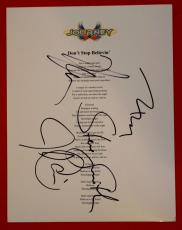 Journey Band Signed Don't Stop Believin Lyric Sheet by 4 Smith Valory Cain Schon
