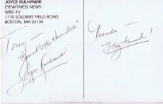 Joyce Kulhawik Signed 3.5x5.5 Photo Postcard WBZ TV Boston