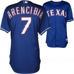 J.P. Arencibia Texas Rangers Player Worn Blue Jersey from 4/8/14 vs Boston Red Sox