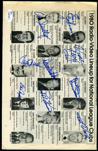 JSA Signed x9 1980 NL Radio Page JACK BUCK VIN SCULLY KINER GENE ELSTON ETC