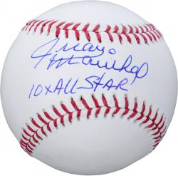 Juan Marichal San Francisco Giants Autographed Baseball with 10X All Star Inscription - Mounted Memories