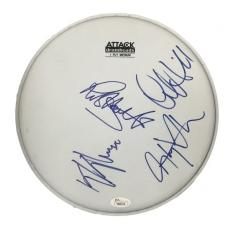 Judas Priest (4) Rob Halford, Downing, Hill & Tipton Signed Drumhead JSA #Y86016
