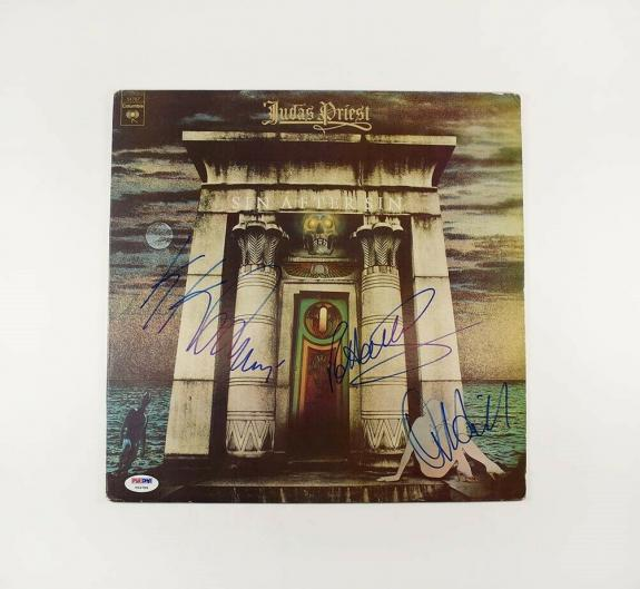 Judas Priest Sin Halford Hill Downing Autographed Signed Album LP Record PSA/DNA