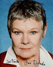 JUDI DENCH HAND SIGNED 8x10 COLOR PHOTO+COA      Q FROM 007 MOVIES    TO MIKE