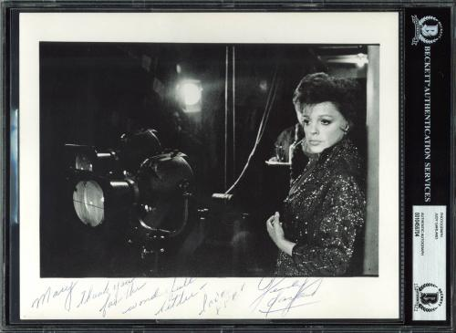 """Judy Garland The Wizard Of Oz """"Thank You"""" Signed 8x10 Photo BAS Slab"""