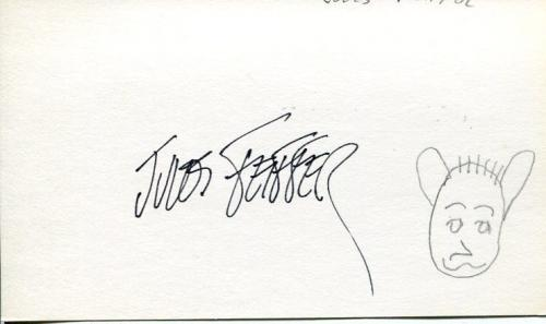 Jules Feiffer Pulitzer Prize Cartoonist Playwright Rare Signed Autograph Sketch