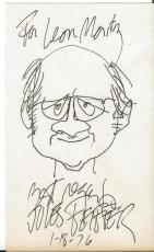 Jules Feiffer Signed 1976 Original 3x5 Sketch