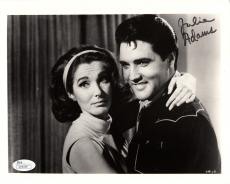 JULIE ADAMS HAND SIGNED 8x10 PHOTO      GREAT POSE WITH ELVIS PRESLEY        JSA