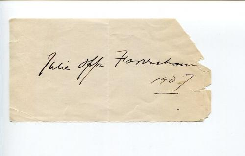 Julie Opp Faversham 1800s Author & Early Stage Actor Signed Autograph