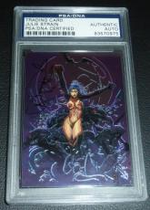 Julie Strain Signed 2000 Vampirella Chrome Comic Promo Card PSA/DNA Autograph #5