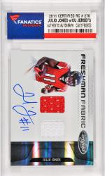 Julio Jones Atlanta Falcons Autographed 2011 Leaf Certifed Rookie #276 Card with 2 Pieces of Game Worn/Used Jersey Pieces Limited to 499