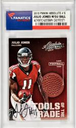Julio Jones Atlanta Falcons Autographed 2013 Panini Absolute Tools of the Trade #5 Card with a Piece of Game Used Football