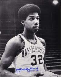 "Julius Erving Massachusetts Minutemen 16"" x 20"" Autographed Black and White Photograph"