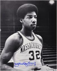 """Julius Erving Massachusetts Minutemen 16"""" x 20"""" Autographed Black and White Photograph"""