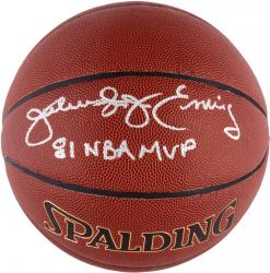 "Julius Erving Autographed Spalding Indoor Outdoor Basketball with ""1981 NBA MVP"" Inscription"