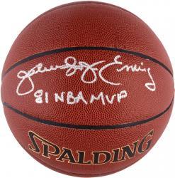 "Julius Erving Autographed Spalding Indoor Outdoor Basketball with ""1981 NBA MVP"" Inscription"